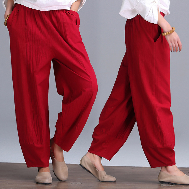 The loose cotton trousers yards wide leg pants female cotton trousers leisure all-match