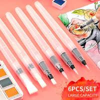 Superior 6 pçs/set Pincel Grande Capacidade de Água Barril Cor Da Pintura de Água Escova Macia Escova de Pintura Para Pintura Materiais de Arte