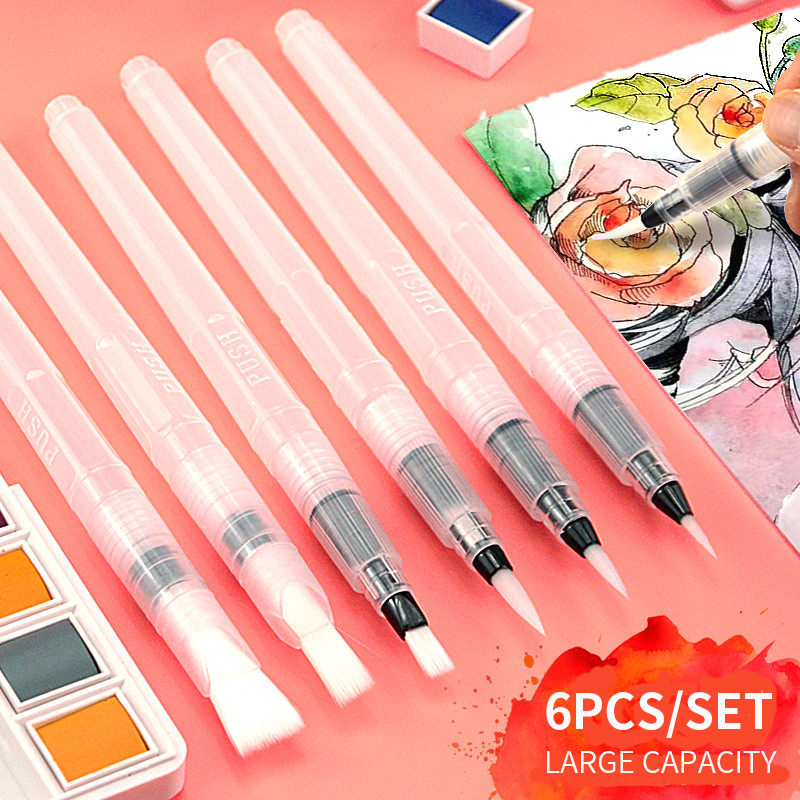Superior 6Pcs/set Water Brush Large Capacity Barrel Water Color Paint Brush Set Soft Painting Brush For Painting Art Supplies