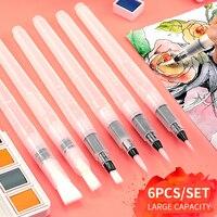 Superior 6Pcs/set Water Brush Large Capacity Barrel Water Color Paint Brush Set Soft Painting Brush For Painting Art Supplies|Paint Brushes| |  -