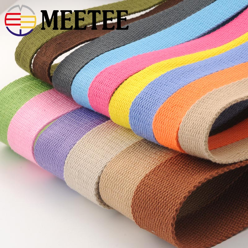 8Y*25MM Canvas Cotton Webbings 1.5mm Thick High Tenacity Backpack Strap Webbing Label Ribbon Clothes Sewing Tape Bias Binding