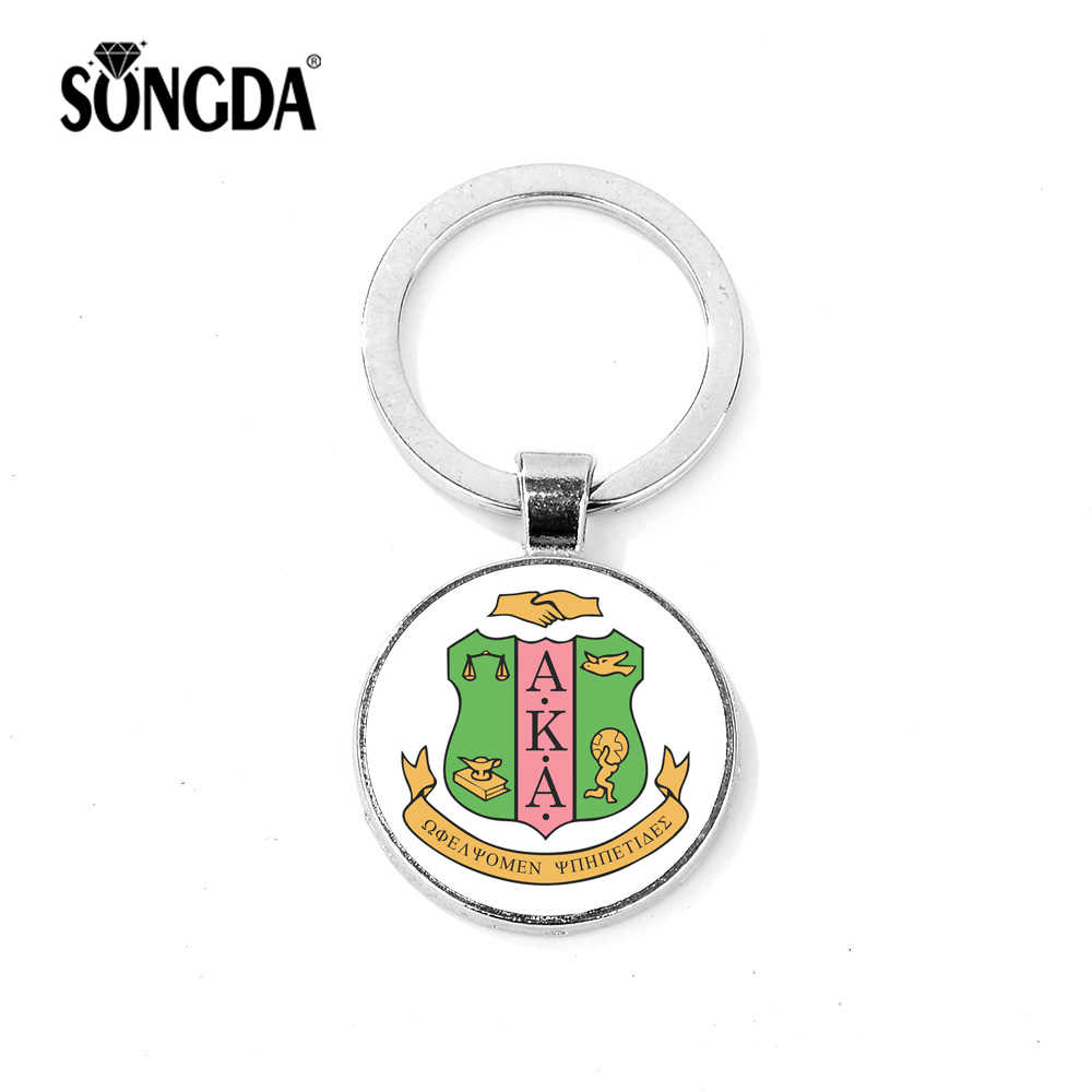 SONGDA Fashion AKA Sorority Greek Letters Badge Keychain Nine Kinds Bright Pattern Glass Cabochon Bag Pendant Keyring Porte Clef