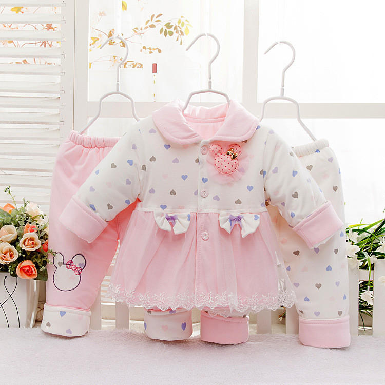 Hotsale Thick Cotton New Born Baby Girl Winter Set Newborn