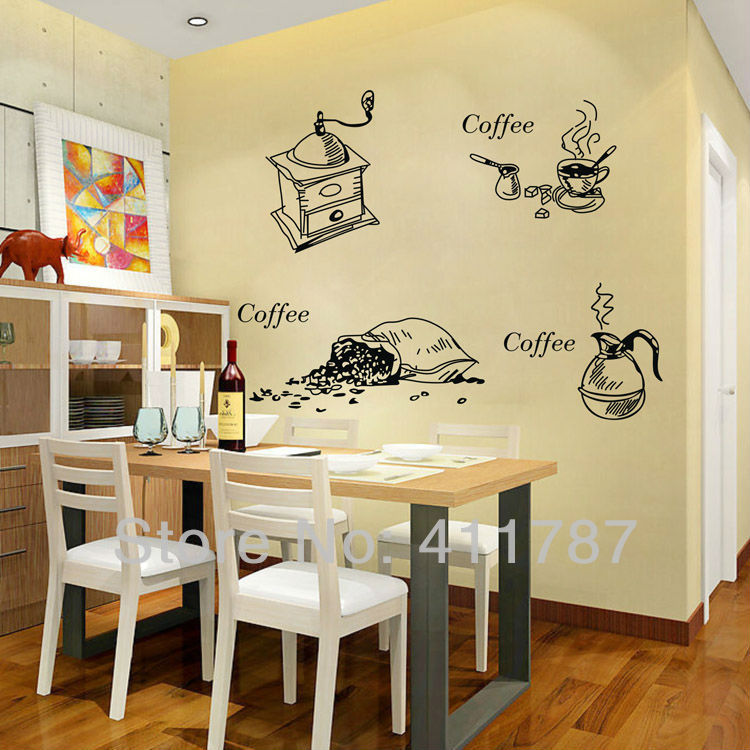 Home Decor Cofffee Pattern Dining Room Kitchen Wall Art Stickers Vinyl Decal  Free Shipping ... Part 62