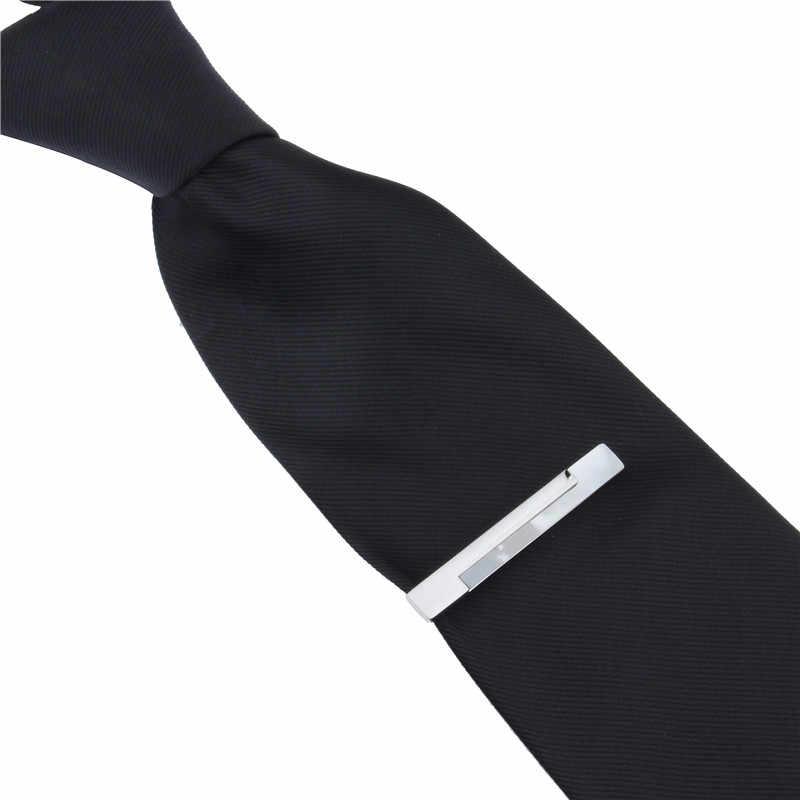 HAWSON אמא של פרל עניבת קליפ תכשיטי כסף צבע עניבת בר כללי התנהגות עבור חתן חתונה