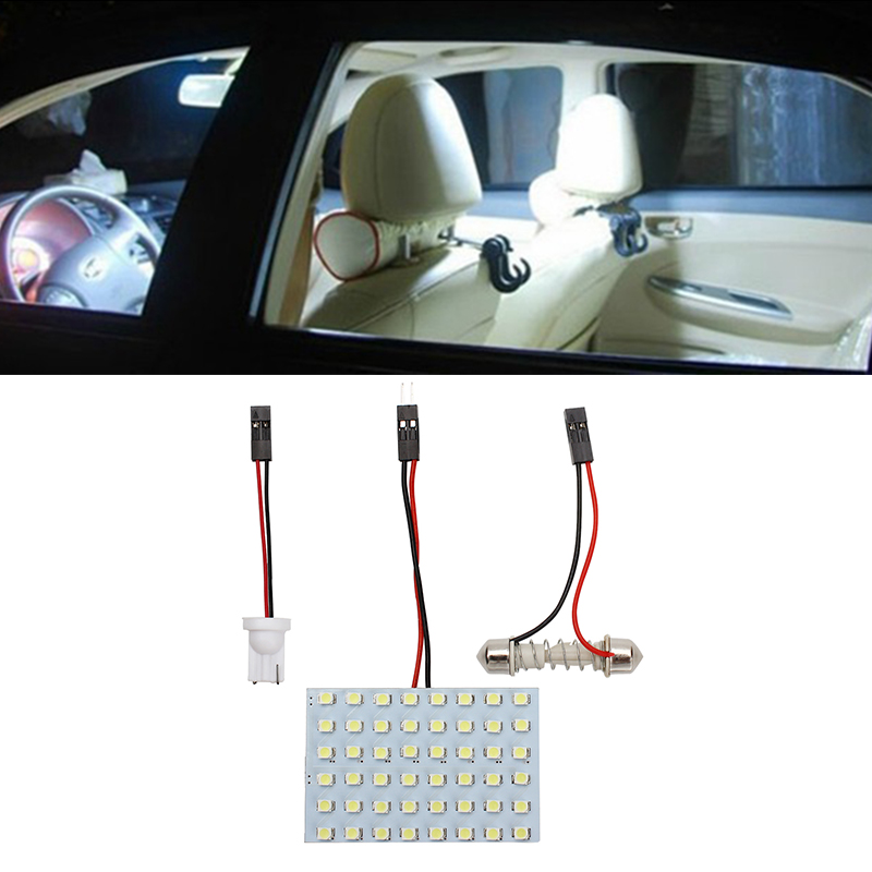 High Quality LED Car Dome Lights Panel Lamps Festoon Interior Roof Bulbs 1210 48 SMD T10 White Auto Reading Lamp Car Styling 48 led auto car dome festoon interior bulb roof light lamp with t10 ba9s festoon adapter base reading light high quality