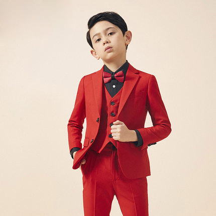Formal 3/5PCS Boys Costume Red Gentle Boy Wedding Children Suit Tuxedo Dress For Party Korea Style Single-breasted Suits Z936