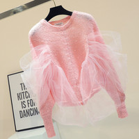 Pink Sweater Women 2018 Autumn Winter New Korean Style Long Sleeve Sequins Loose Sweet Celebrity Knitted Jumpers Sweter Mujer