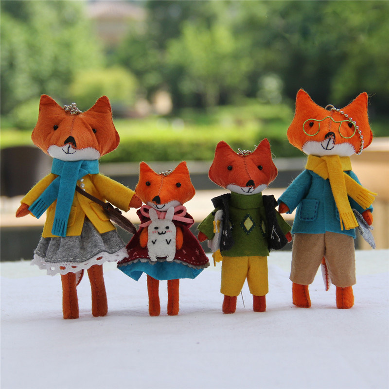 2 Pcs Children Gift Lovely Fox Families Home Decor Bedroom Felt Doll Handmade Sewing Cloth Craft Toys Felt DIY Package