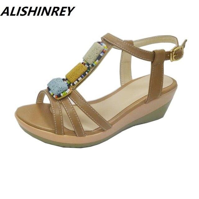 5c52a352e79 Size 35-43 summer women sandals women genuine leather sandals platform flat  sandals rubber sole women s wedges sandals