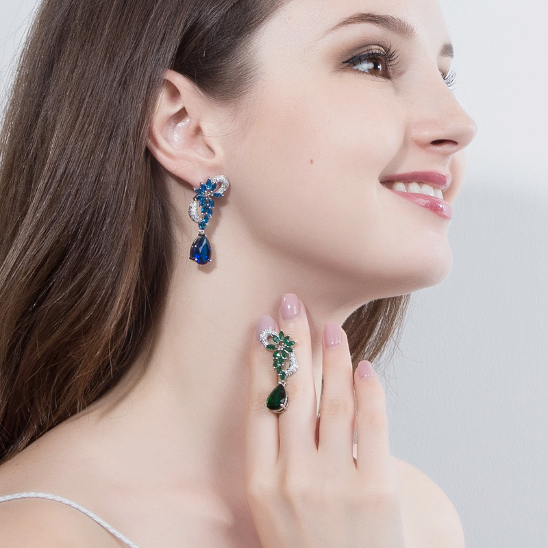 ThreeGraces Κομψό βασιλικό μπλε πέτρινο - Κοσμήματα μόδας - Φωτογραφία 2