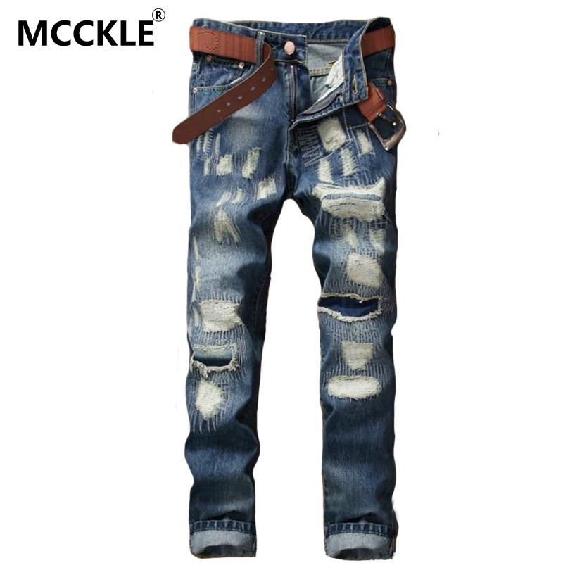 ФОТО MCCKLE Fashion Mens Ripped Jeans Pants Slim Fit Straight Distressed Denim Joggers  Male Brand Designer Destroyed Patch  Trousers