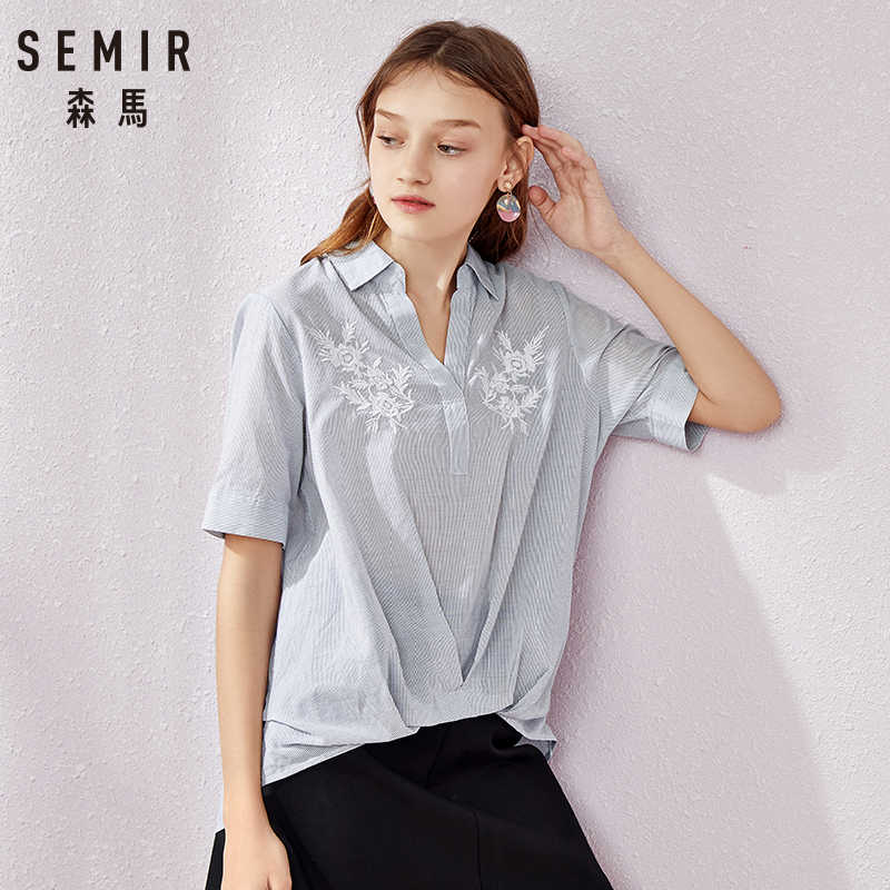 SEMIR Women Blouse and Tops Summer Top Casual Loose Solid Chiffon Blouses Female Shirts Vest Blusa Women Clothing