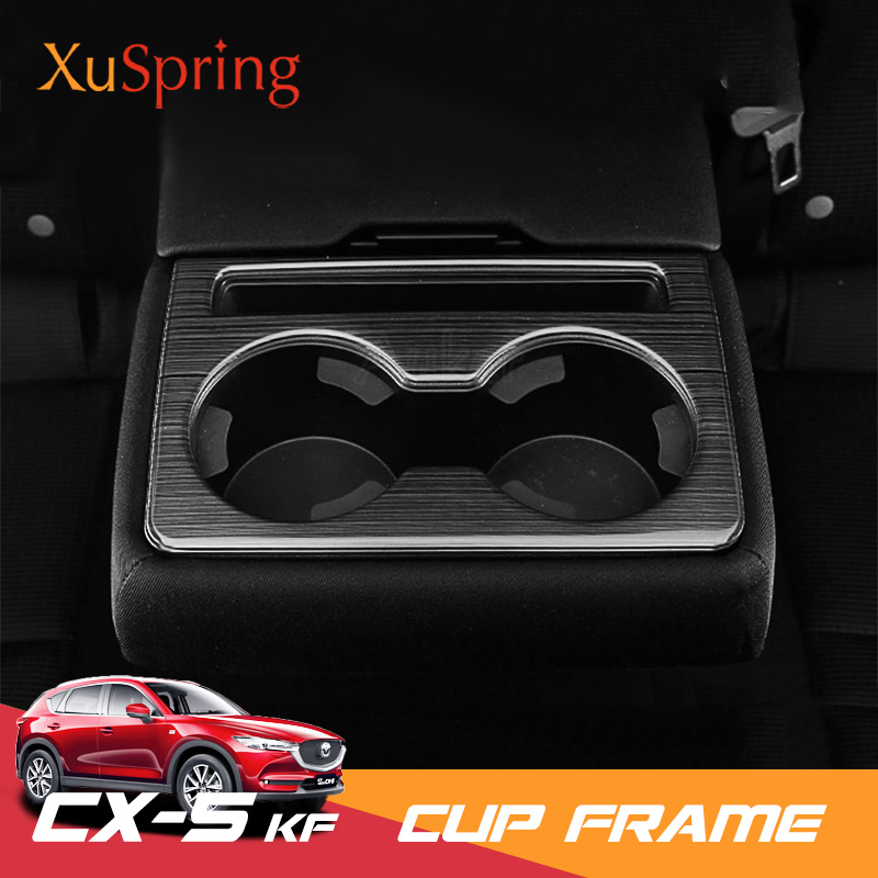 Car Rear Seat Cup Holder Trim Cover Stickers Bezel Frame Ring Strips Matte Brushed Garnish For