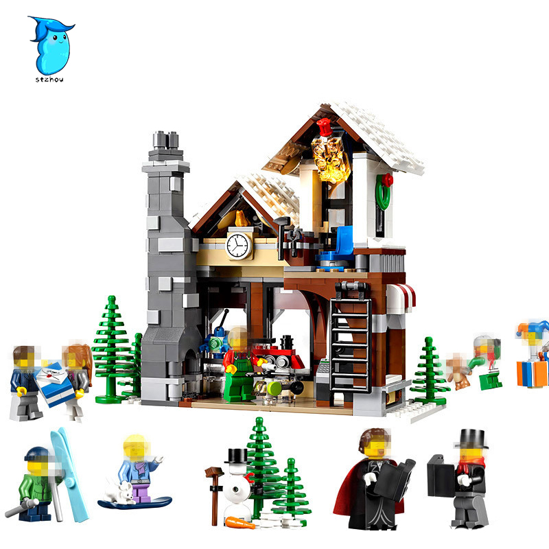 StZhou 1005pcs Lepin Building Blocks Model 36002 Compatible Legoes Building The Winter Toy Shop Model Toys For Children realleader м2 1005