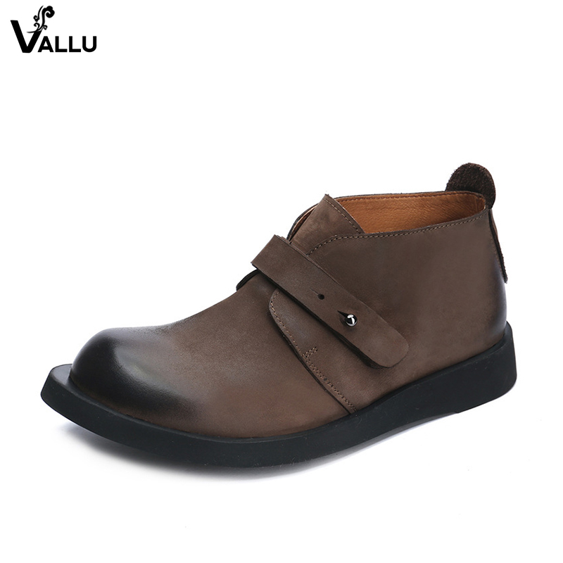 Button Strap Low Cut Men Boots Latest Europe Cow Leather Fashion Casual Male Ankle Booties Round Toe Comfortable Mans Footwear men button