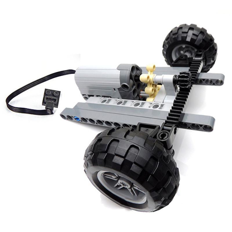 Technic Car Front Suspension Steering System Parts Sets with Electric Power Functions Servo Motor & Wheels Toys Bulk Set Parts power wheels electric motor