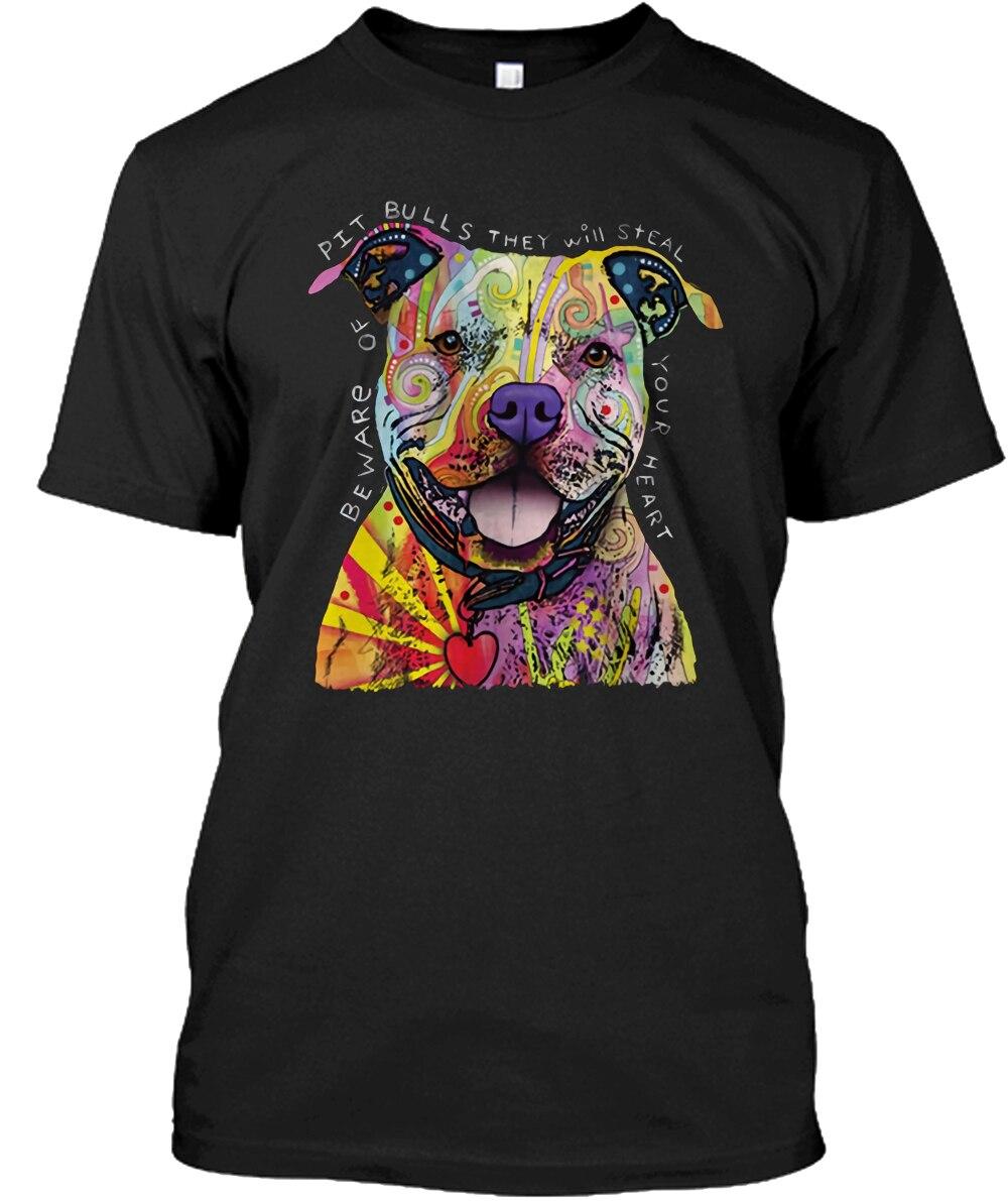 Mode T Shirt hommes popeline col rond Pit Bull T Shirt néon chiot chien Loveable S à 3Xl à manches courtes T Shirt WFWKTNIT