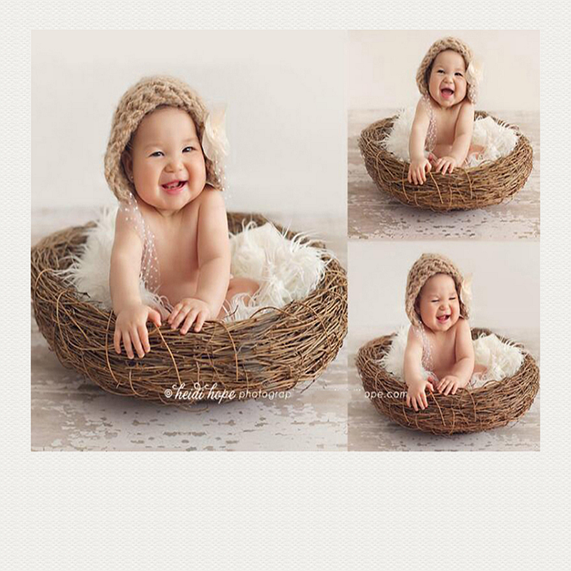 newborn photography prop creative bird's nest <font><b>100</b></font> days baby photography baby basket image