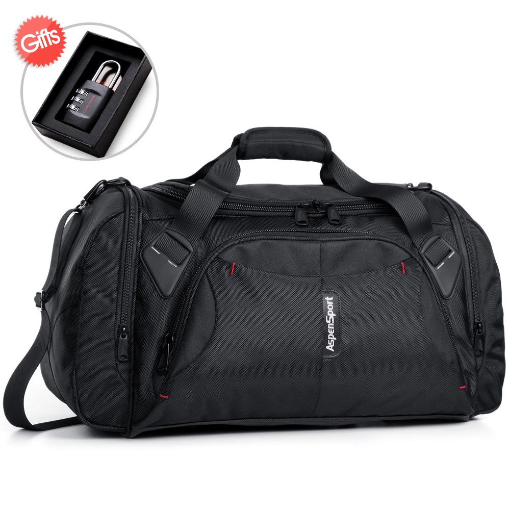 AspenSport Bagage Reistassen voor mannen Nylon Duffle Handtas Grote Organizer Folding Rugzakken 40L Capaciteit Zwart/Rood/Blauw-in Reistassen van Bagage & Tassen op  Groep 2