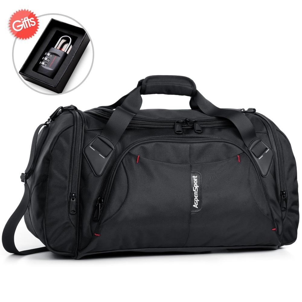 AspenSport Luggage Travel Bags For Men Nylon Duffle Handbag Large Organizer Folding Backpacks 40L Capacity Black/Red/Blue