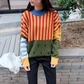 2016 Nuevos Suéteres de Moda de Las Mujeres Harajuku Pullover Invierno Árbol de Rayas Eetro del golpe Del Color Lindo Suelta Murciélago suéter Cabeza Señora Tops D246
