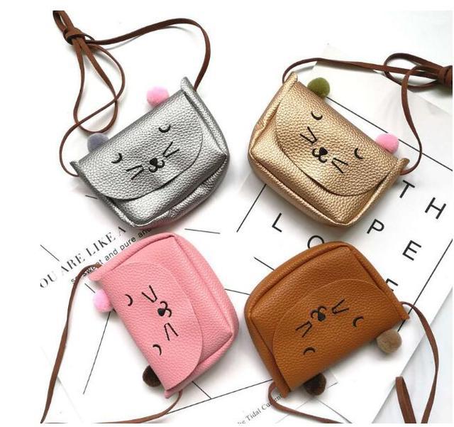 b6e456584861 5 pieces So Cute Children PU Leather Cat bag Kid s Shoulder Messenger Bag  Girl Shoulder Bag