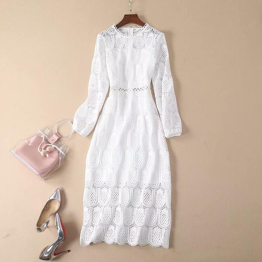 HIGH QUALITY Newest Fashion 2019 Designer Runway Dress Women s Elegant Lantern Sleeve Sweet White Water