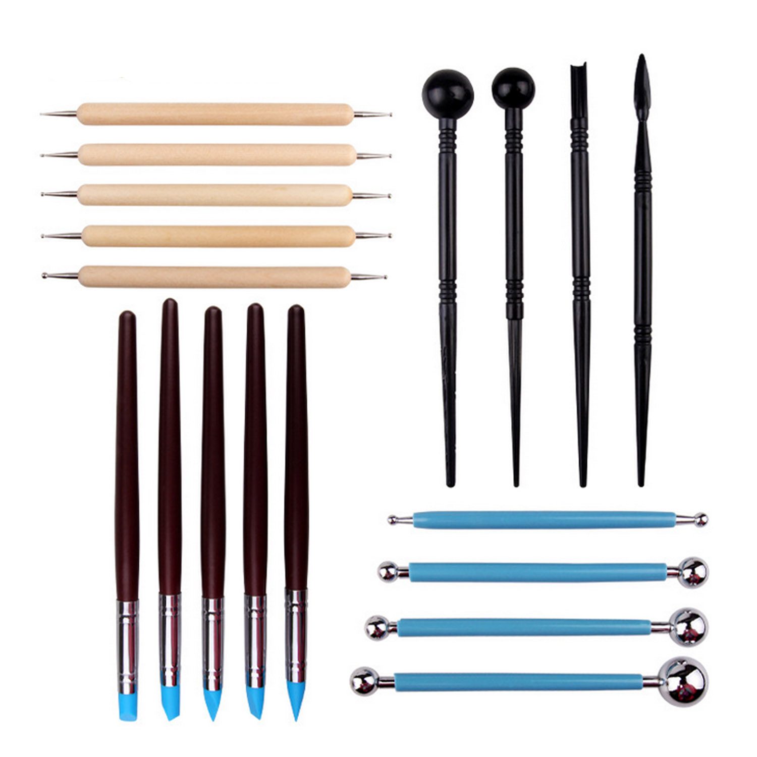 18 PCS 4 Styles Clay Sculpting Tool Set Art Dotting Tool Ball Stylus Clay Sculpting Painting Tools Set