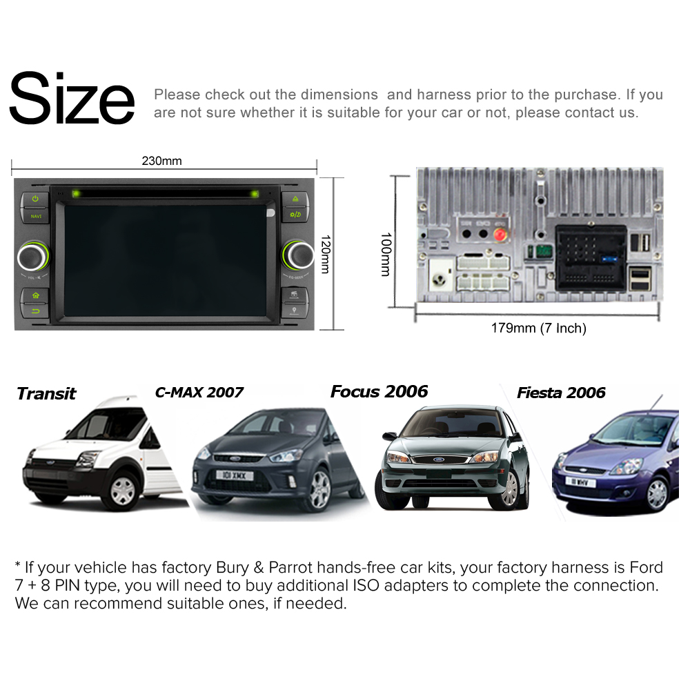 Buy A Sure 7 Car Radio Player Gps For Ford Transit 2007 Focus Galaxy S Max C Fusion Fiesta Rds Swc Bluetooth Cd Dvd Usb Mirror Link From