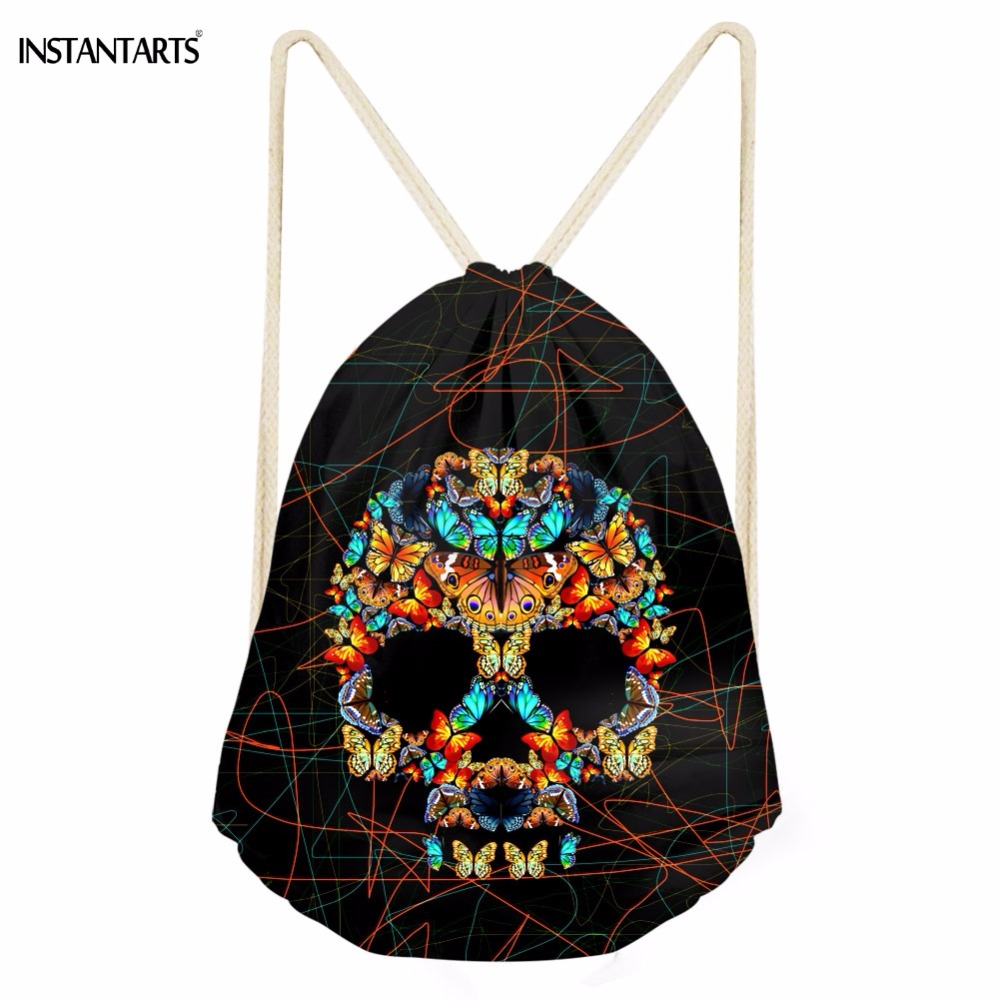 INSTANTARTS Casual Women Drawstrings Bags Creative 3D Colorful Butterfly Skull Head Print Teen Girls Storage Backpack Travel Bag