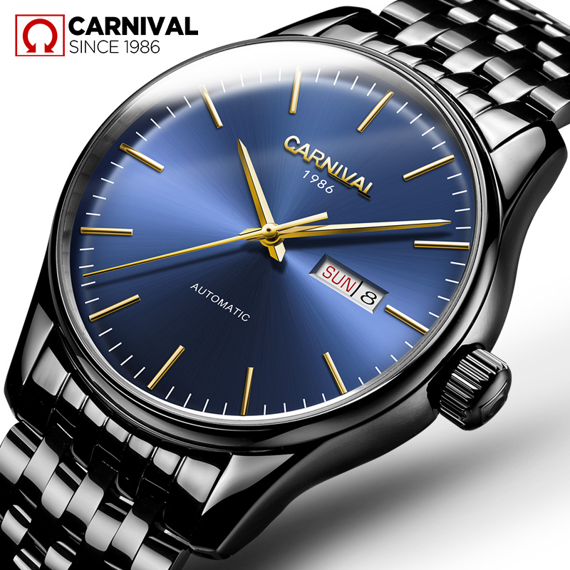 Carnival Watch Men Automatic Mechanical Black Stainless Steel Waterproof Week Date blue dial Watches tevise men watch black stainless steel automatic mechanical men s watch luminous waterproof watch rotate dial mens wristwatches