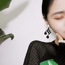 Black Acrylic Music Note Earrings