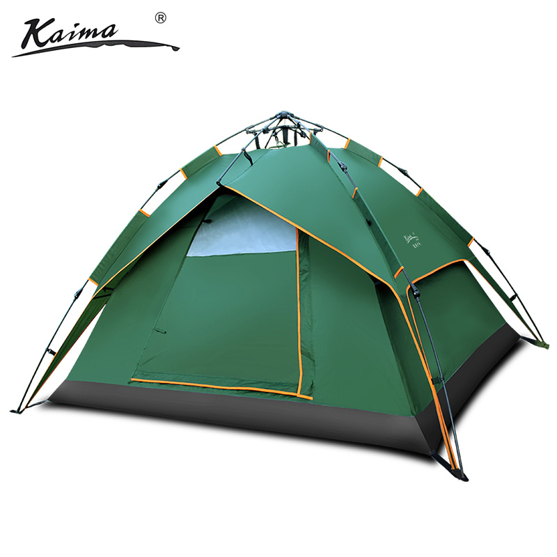 Kaima outdoor field 3-4persons camping rainproof automatic family tent double layer 2colors Hydraulic pressure quick open tent hewolf 2 persons tent mosquito net double layer rainproof outdoor tourist camping tent for hiking fishing hunting dhl free