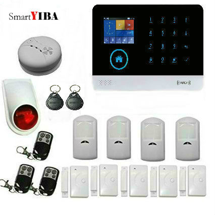 SmartYIBA WIFI APP Control Infrared PIR Detector Strobe Siren Smoke Sensor GSM Alarm Kits Home Burglar Security Alarm System kerui wireless wired gsm voice burglar home house security alarm app control tft touch panel wireless smoke detector pir sensor