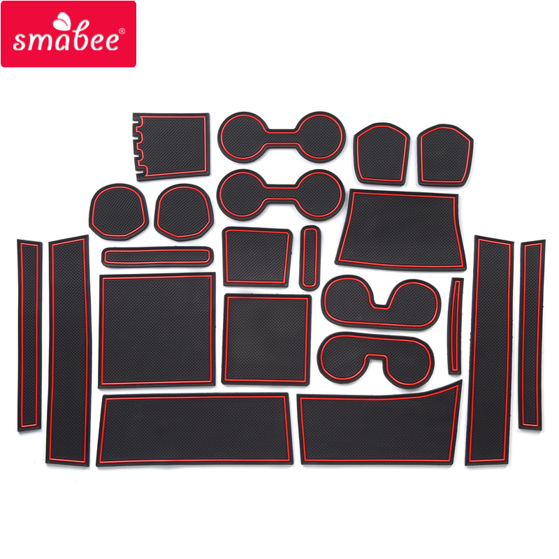 Smabee Gate Slot Mats For For Mitsubishi DELICA D:5 D5 Accessories,3D Rubber Car Mat 22pcs RED WHITE BLACK