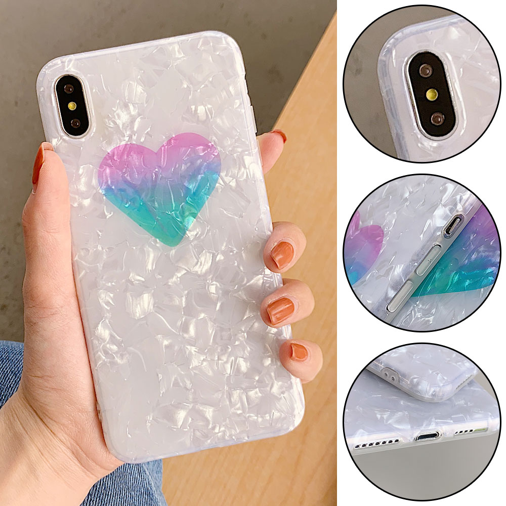 RAXFLY Gradient Heart Case For iPhone 7 8 6S Plus Shell Pattern Case For iPhone XR X XS Max Protective Cover Fundas Coque in Half wrapped Cases from Cellphones Telecommunications