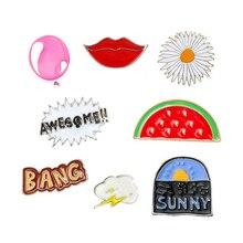 1 pcs cartoon watermelon balloon lip metal brooch button pins denim jacket pin decoration badge for clothes lapel pins
