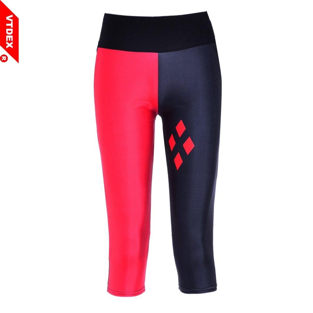 Prix pour VTDEX Harley Quinn Workout Pants 2017 Nouveau Femmes Fitness Leggings Capri Libres Yoga Courir GYM Pantalon Patchwork Élastique Collants