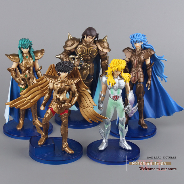 Free Shipping Anime Saint Seiya Sagittarius Hyoga Taurus Gemini PVC Action Figures Collection Toys Dolls #B 5pcs/set SYFG003