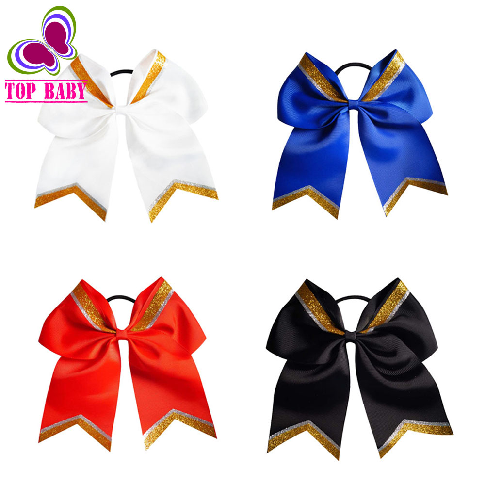 Ha hair bow ribbon wholesale - Fashion Gold Large Glitter Cheer Hair Bow Cheerleading With Elastic Bands For Girls Ponytail Holder