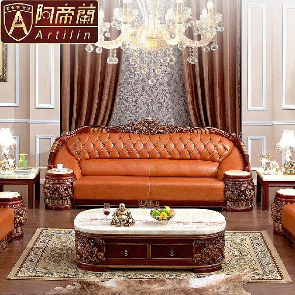 Artilin High Quality Top Grade Genuine Leather Luxurious Grand Sofa Sets  Lounge Chaise Living Room Sofa