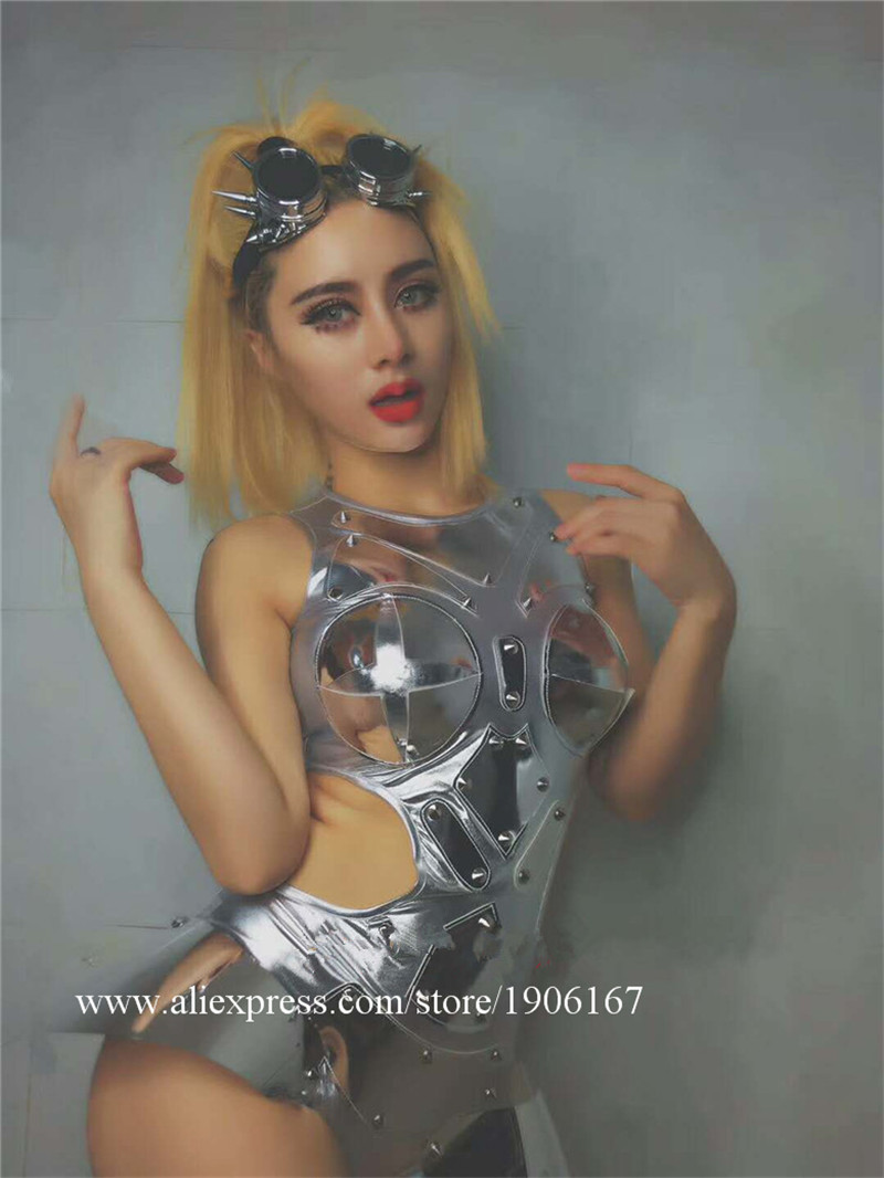 Car model catwalk hosted dance dj sexy silver mirror high fork conjoined gogo costume5