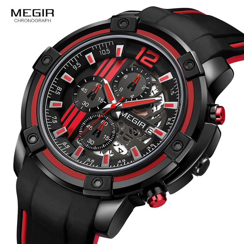 Image 2 - Megir Luxury Quartz Watches Men Silicone Military Sports Chronograph Stopwatch Man Wristwatch Top Brand Relogios 2097 Black Red-in Quartz Watches from Watches