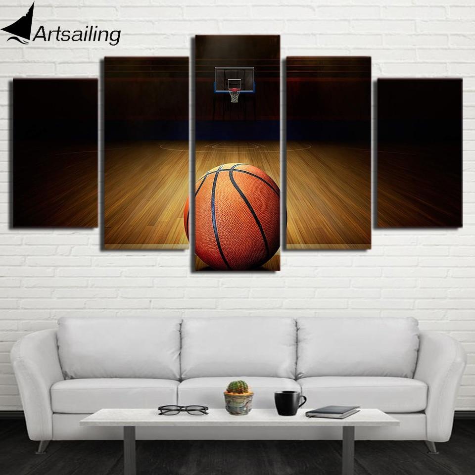 5 Stück kugel drucken leinwand Basketball sport malerei Wandbilder ...