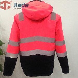 Image 5 - Высокая видимость Защитная куртка бомбер оранжевый Зимняя Светоотражающая водонепроницаемая куртка Рабочая одежда размера плюс