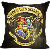 Free Shipping Personality Custom Zippered Square Pillowcase Harry Potter Hogwarts Crest Soft Pillow Cover Case SQ00608