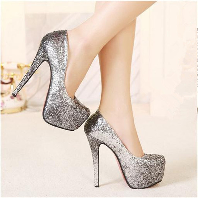94ee6c5882c1 My Love From The Star same style 2015 women sexy silver glitter round  closed toe red bottom sole high heels prom shoes pumps