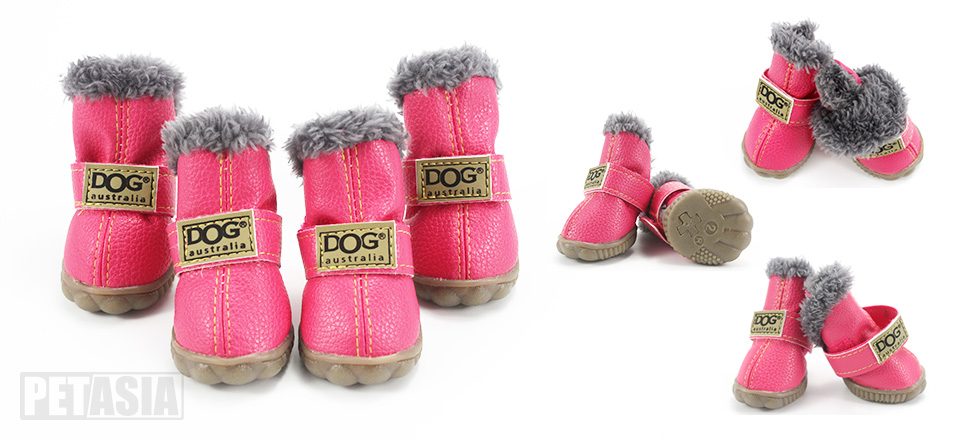 winter dog boots pink