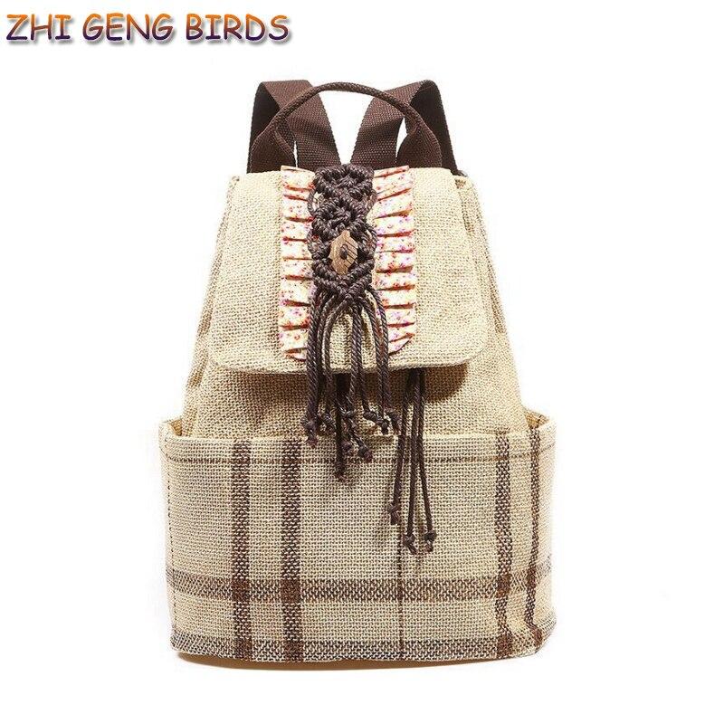 ZHI GENG BIRDS 2017 Lady Vintage Backpack Handmade Mochila Drawstring Print Canvas Bag pack Sac Rucksack